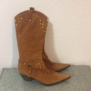 Steven by Steve Madden Suede Leather Harness Boots